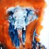 Red Alert-Elephant-Gouache