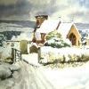 Snowy Churchyard-Watercolour