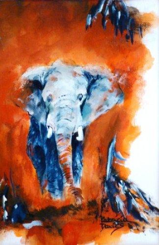 Red Alert-Elephant-Gouache