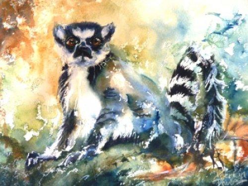 Ring Tailed Lemur|Watercolour|15x18inches